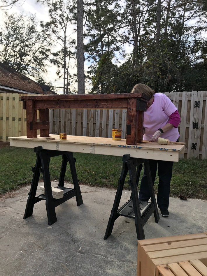 Staining the farm table