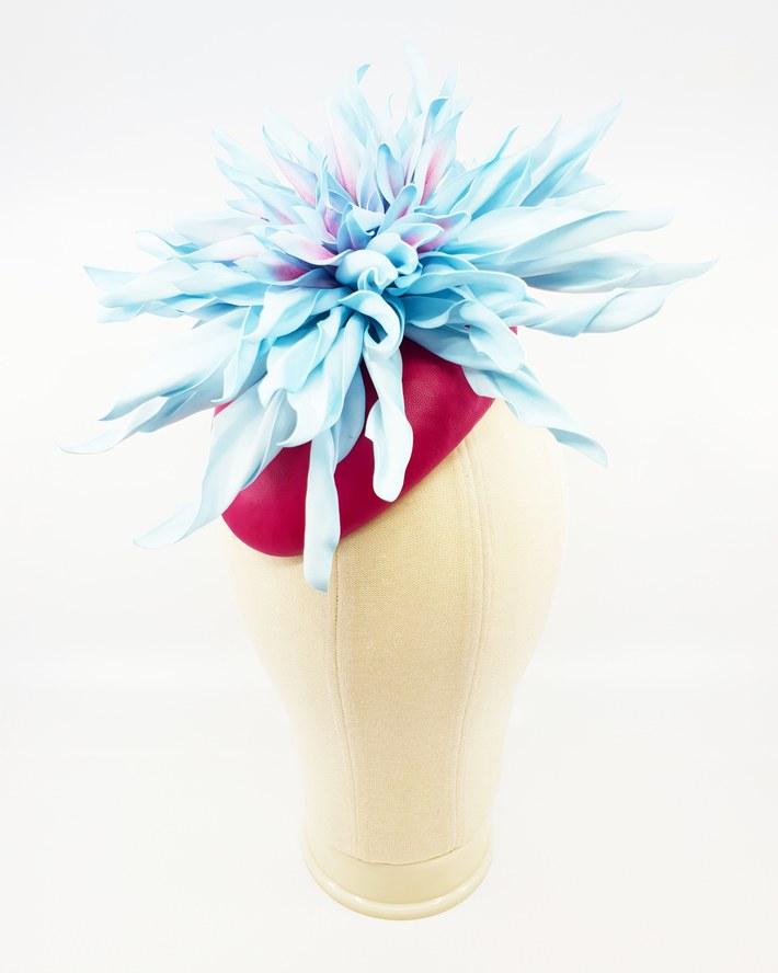 Pink leather beret with sky blue EVA foam dahlia
