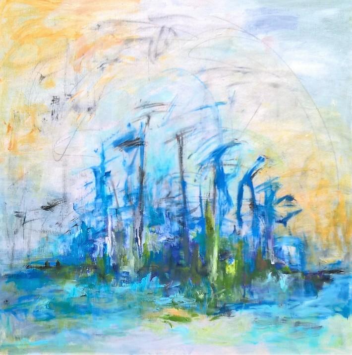 13. SCHILFROHR IN DER POLDER 4 120 x 120 cm. Acryl auf Canvas