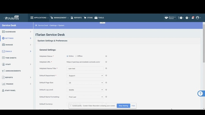 ITarian Service Desk Ticket System | System Settings and Preferences