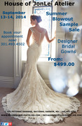 Summer Sample Blowout Sale - Wedding Gowns $499.00