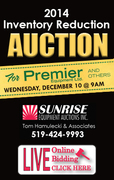 Sunrise Equipment Auction - Dec 10,  Premier Equipment Inventory Reduction Auction.