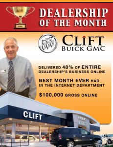 Clift Buick GMC reached $100,000 in gross online sales - 48% of the entire dealership's business!