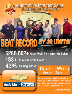 Andy Mohr Chevrolet achieved a 43% selling ratio from the internet department alone. Learn how Charles Wells- the Internet Director at Andy Mohr Chevrolet- made that happen.
