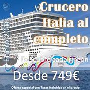 Crucero Italia al Completo 2016 12 días, 11 noches desde 655€ + 94€ (tasas)= 749€