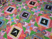 center of quilt showing both types of blocks