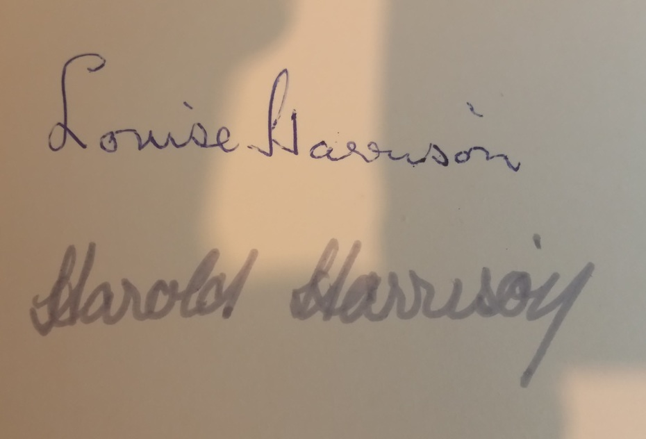 Louise And Harold Harrison Autographs