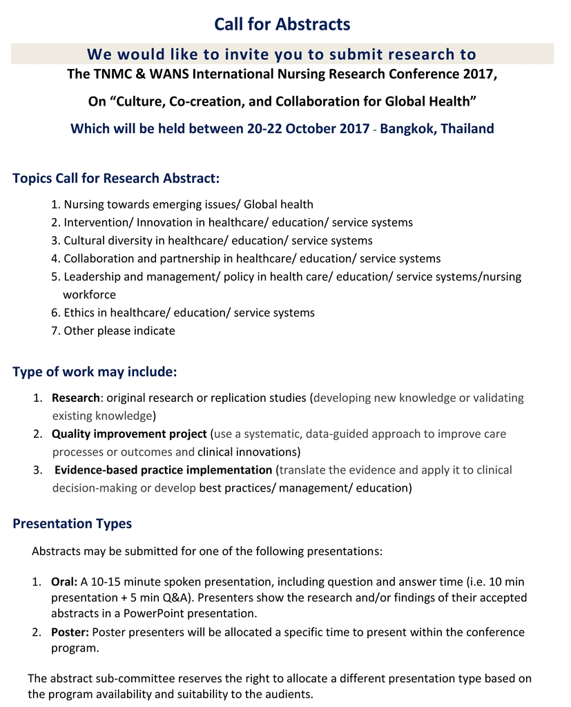 Call for Abstracts The TNMC & WANS International Nursing Research