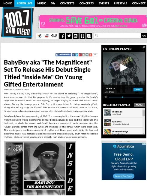 100.7 KFMB FM San Diego FEATURING BABYBOY AKA THE MAGNIFICENT