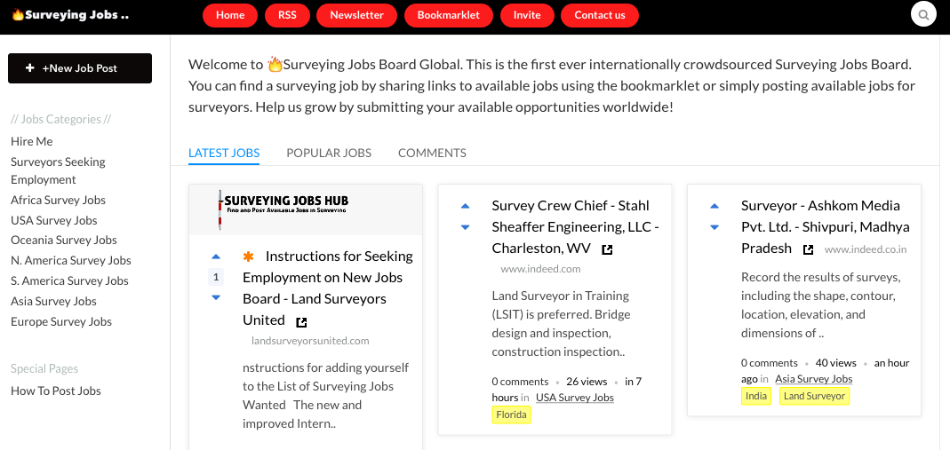 surveying jobs board