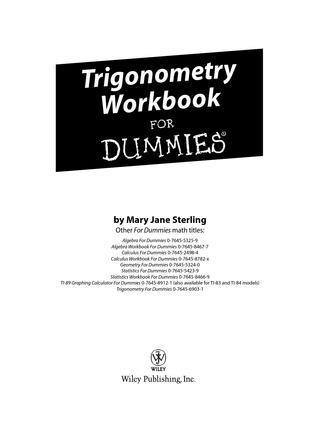 pdf Ebook: Trigonometry Workbook For Dummies