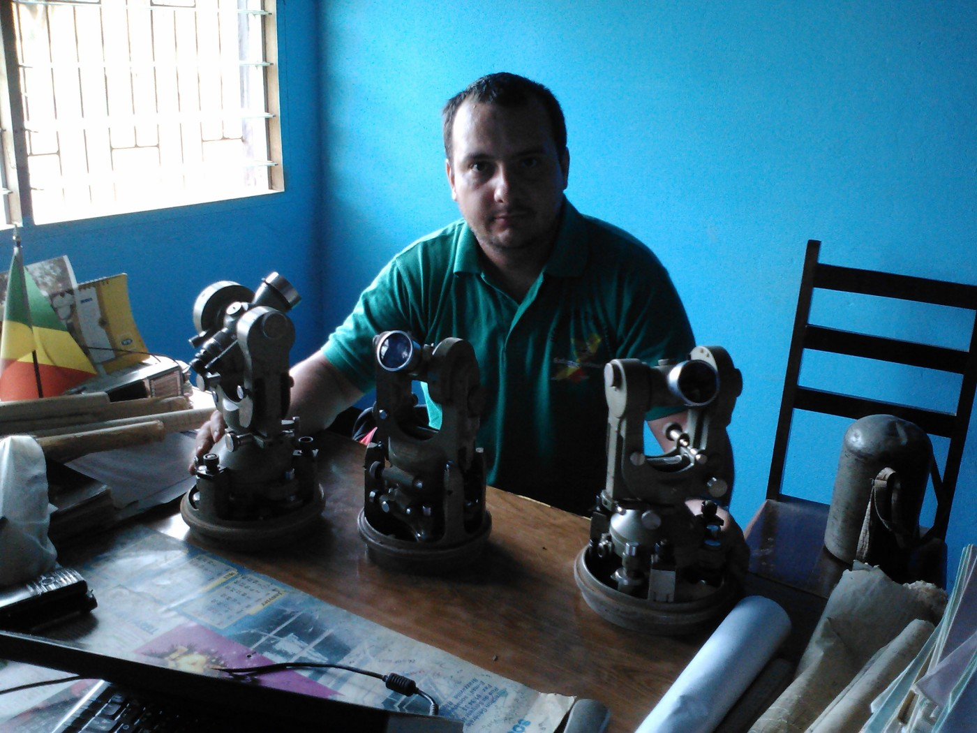 Me and the 2 Theodolites Wild T2 and T1A - in the Cadaster Offices of Nkayi in The Republic of Congo