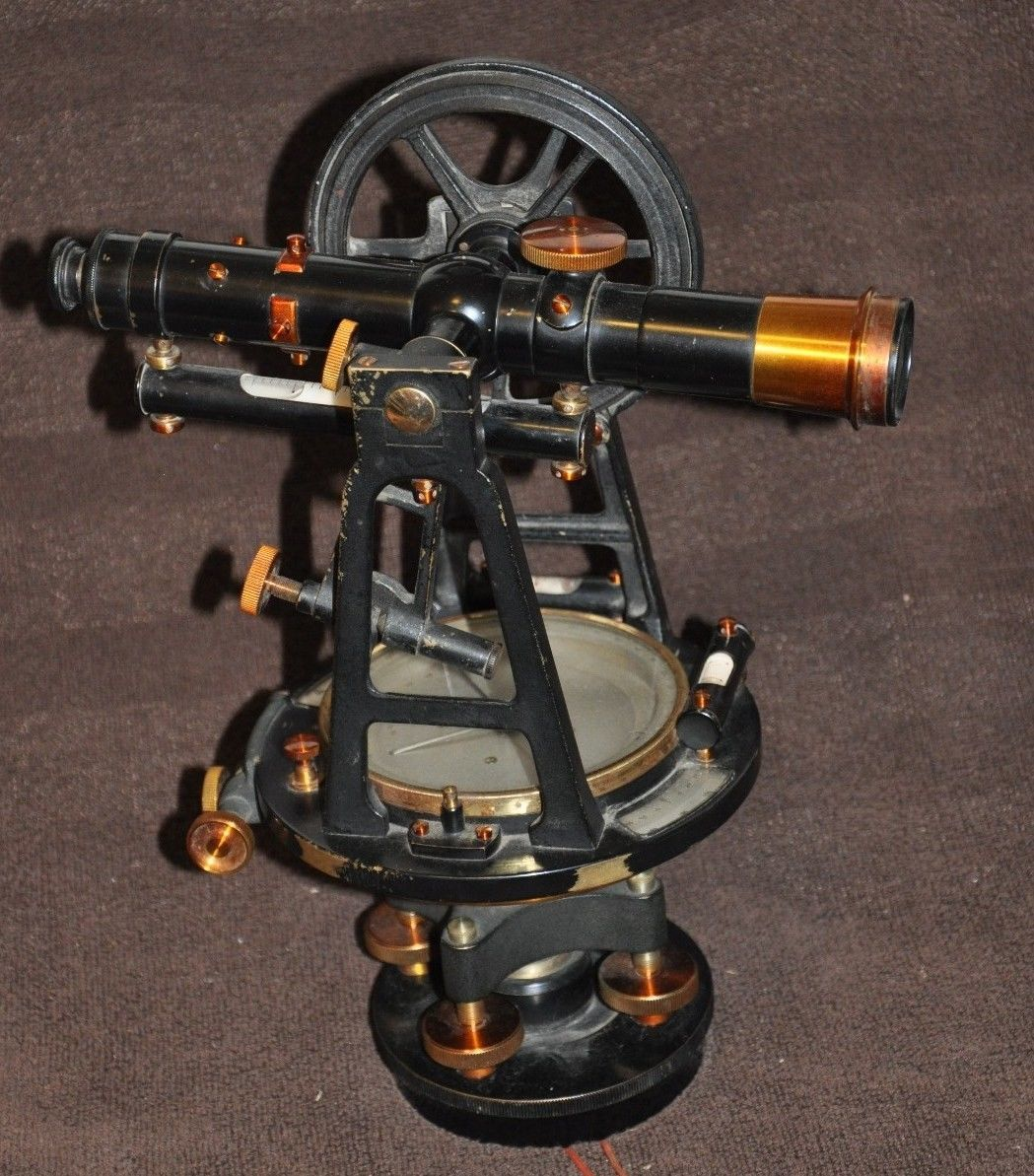 Black Dietzgen Brass Transit Land Surveyor with Compass 1928