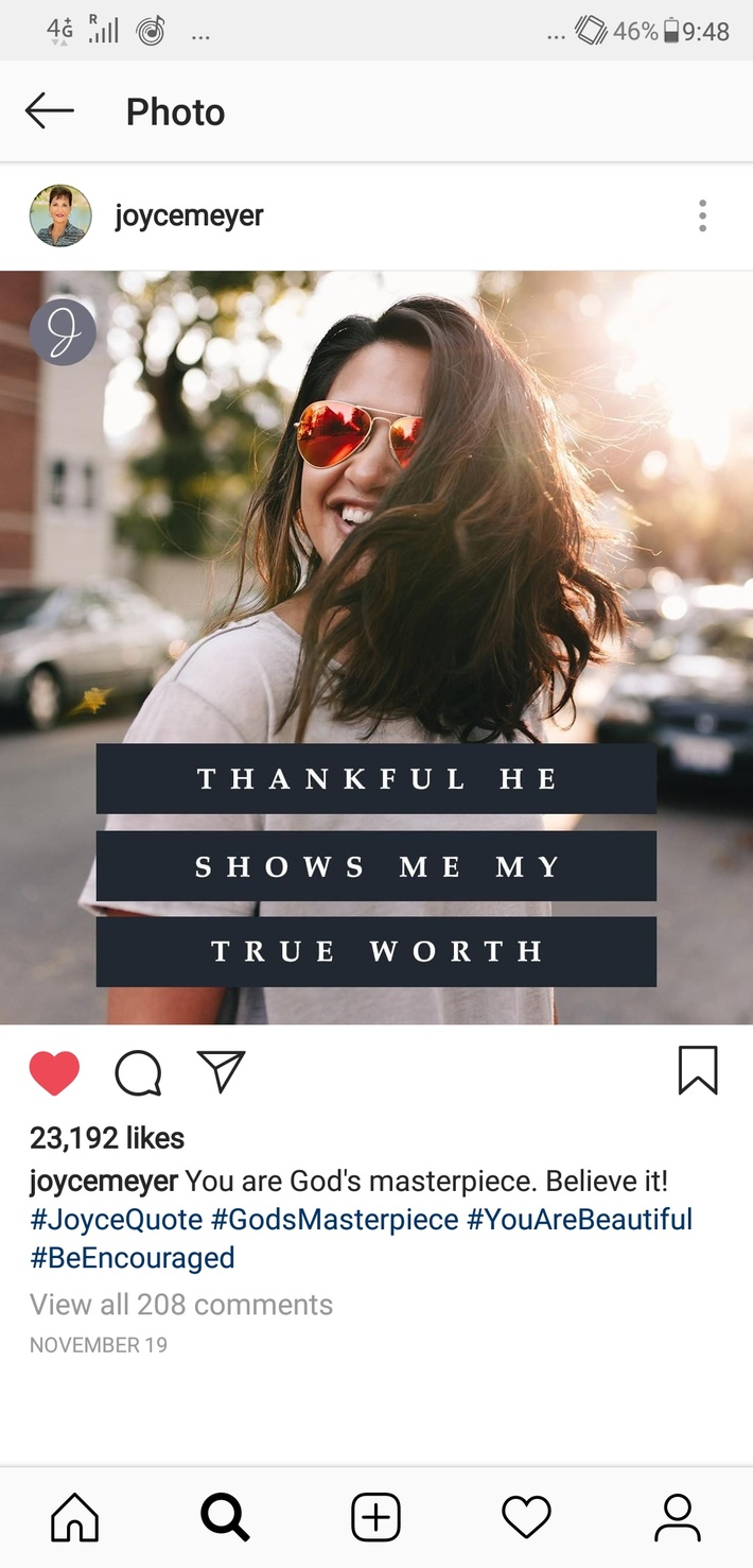 Thankful He shows me my true worth.