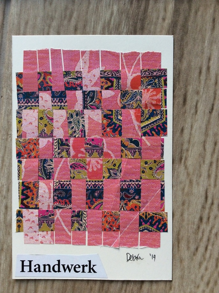 Paper weaving postcard