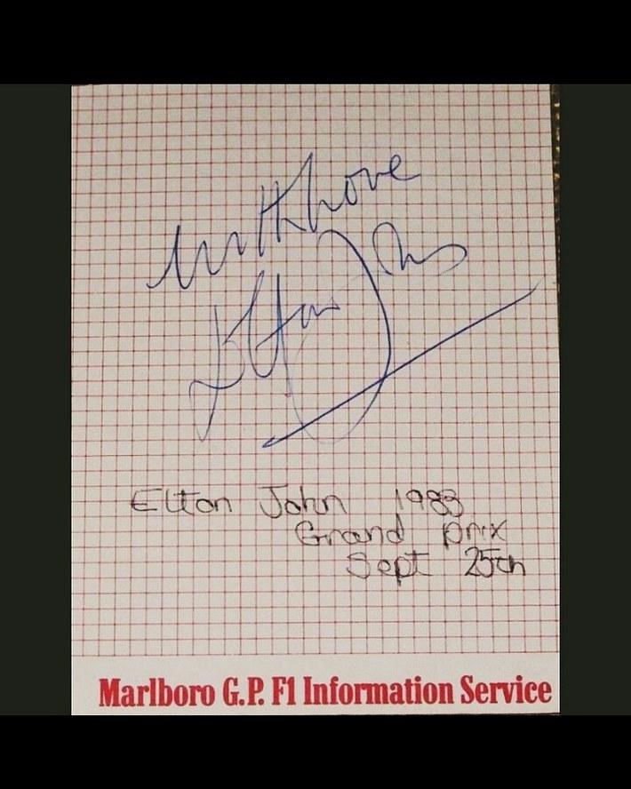 Elton John signed G.P. F1 Information service page