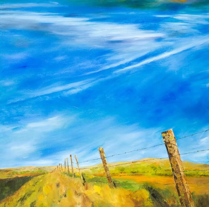 "60""x60"" Fence: Oil on Canvas"