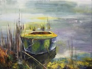 """30""""x40"""" Boat at the Riverbanks: Oil on Canvas"""