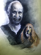 """7""""x9"""" My dad with Toto: Watercolour & Staedtler charcoal pencil"""