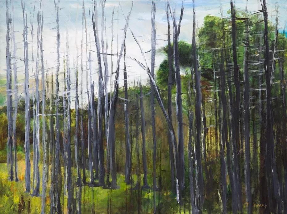 """30""""x40"""" SILVER OAKS: Oil on Canvas"""