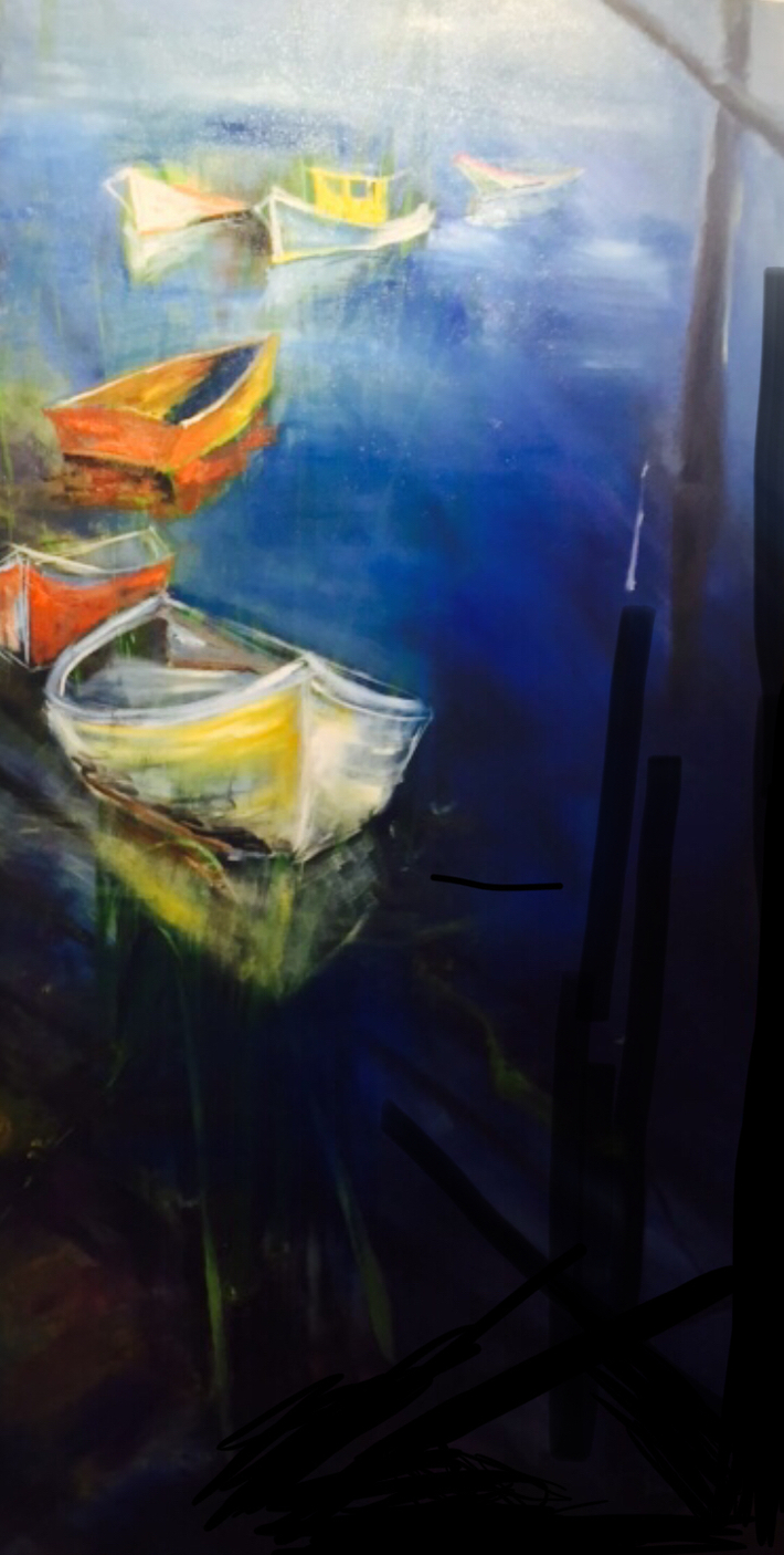 "36""x 72"" Drifting Boats: Oil on Canvas"