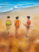 "36""x48"" Calangute Beach in Goa: Oil on Canvas"