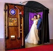 Steampunk rustic wedding photo booth rentals in Kansas City