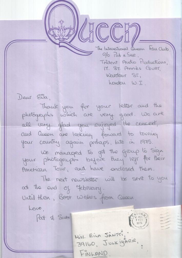 Queen letter 1974