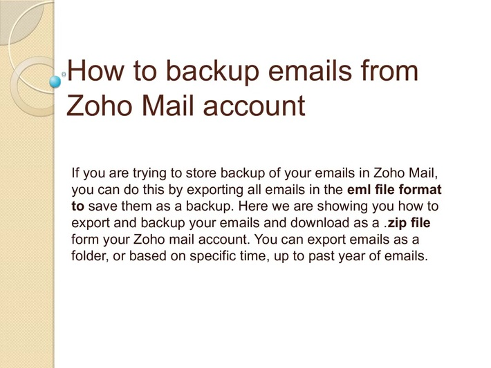 How to backup emails from Zoho Mail