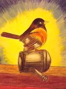 Bird on watercan