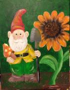 Grome with orange sunflower