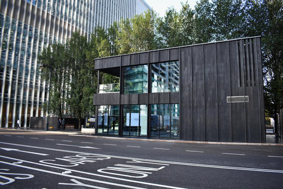 Charred Oak Cladding Canary Wharf London