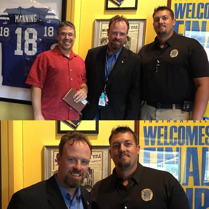 Brian with Indianapolis Police Officers David Roth & Kurt Bernsheimer