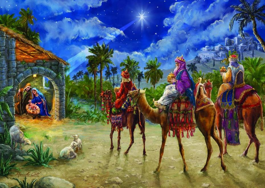 The three Kings, or Magi, going to see The King of Kings