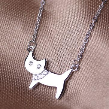Get The Best Pretty Lady Cat 925 Sterling Silver Rhinestone Necklace