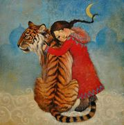 LUCY CAMPBELL'S TIGER AND GIRL PAINTING