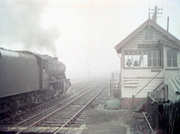 8F passing Blakesley Signalbox (1964) - J Cosford