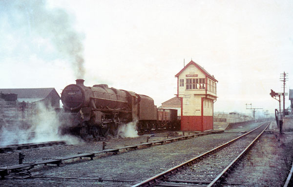 Black 5 at Towcester Station, mid 60's (Ron Fisher)