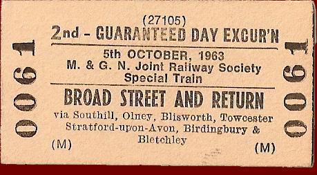 'Wandering 1500 Railtour' (The famous B12 tour) Ticket