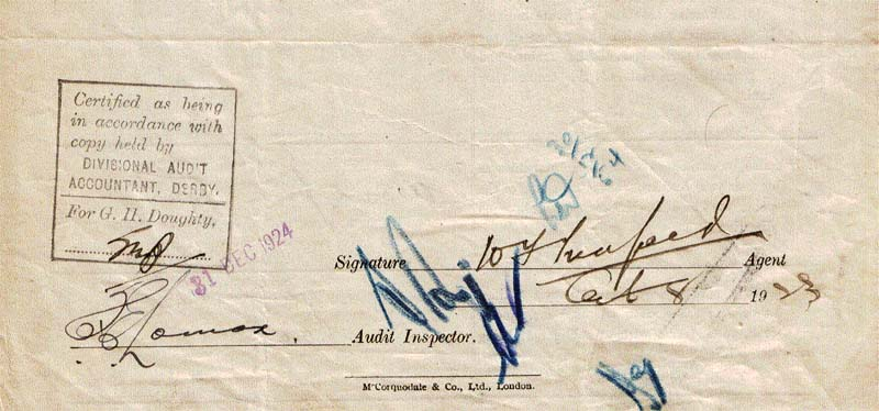 Byfield - signature Mr Trenfield station master 1923