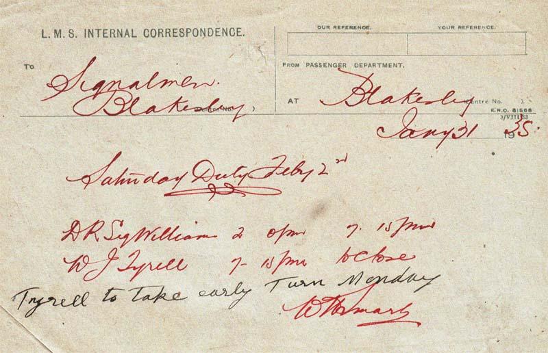 Internal Correspondence form LMS 1935 instructing Blakesley signalmen of shifts