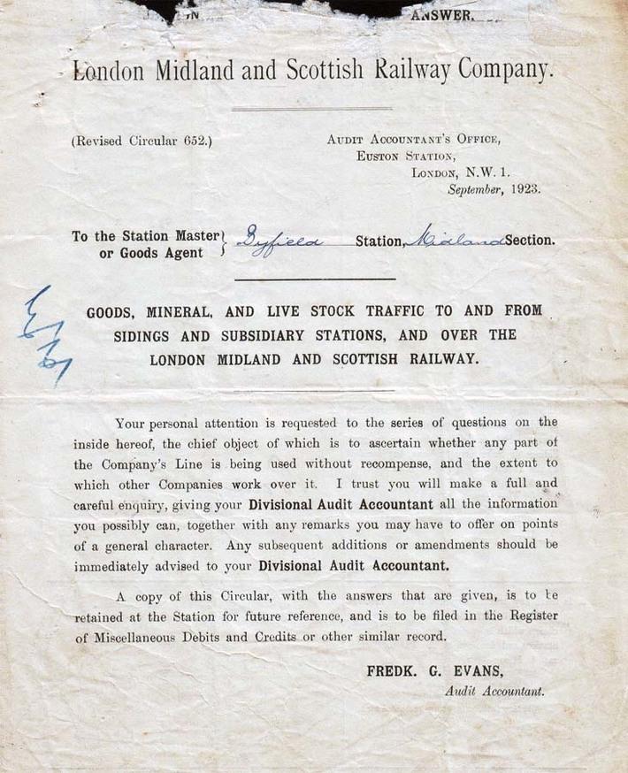 LMS Audit information request to station master Byfield 1923