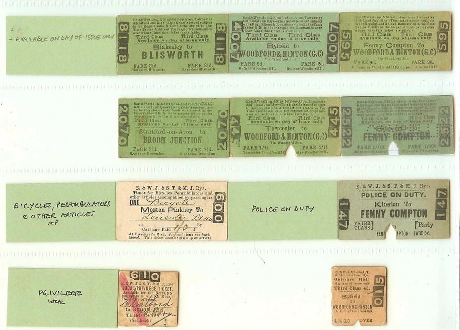 E&WJR A mix of Non-Standard Railway Tickets