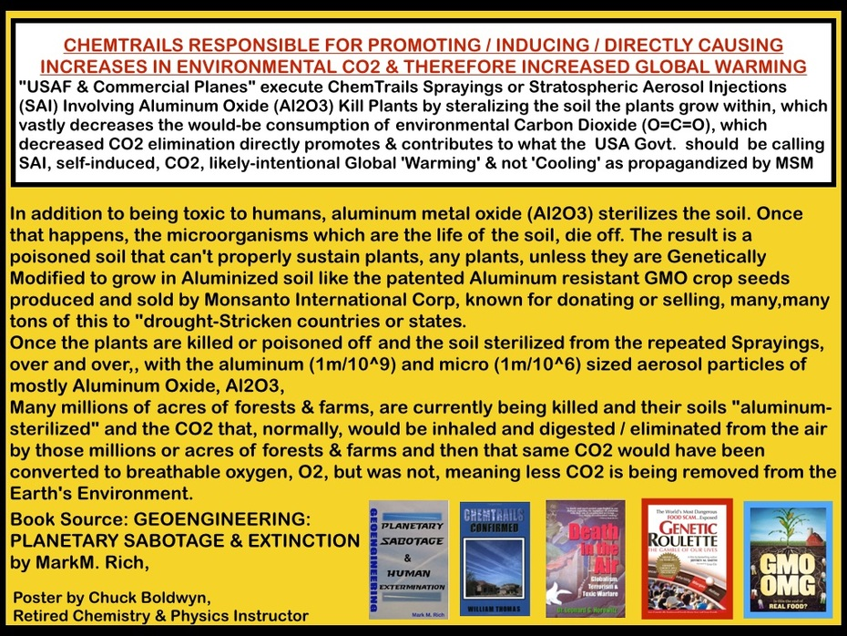 ChemTrails updated Poster: ChemTrail's nano / micro-sized particles  of Al2O3 Responsible for Interrupting / disrupting the O=C=O Photosynthesis  Of Earth's Vegetation, leading directly to CO2 ^