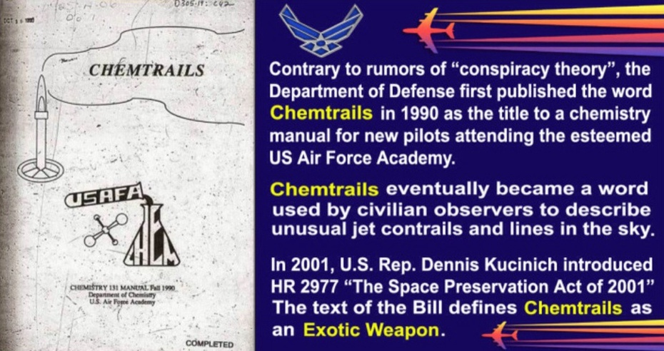"""USAF ACADEMY """"CHEMTRAILS"""" Manual For Teaching The Chemistry associated with CHEMISTRY TRAILS To USA Air Force Academy Students Before Conducting Spraying Missions All Over The USA & The World"""