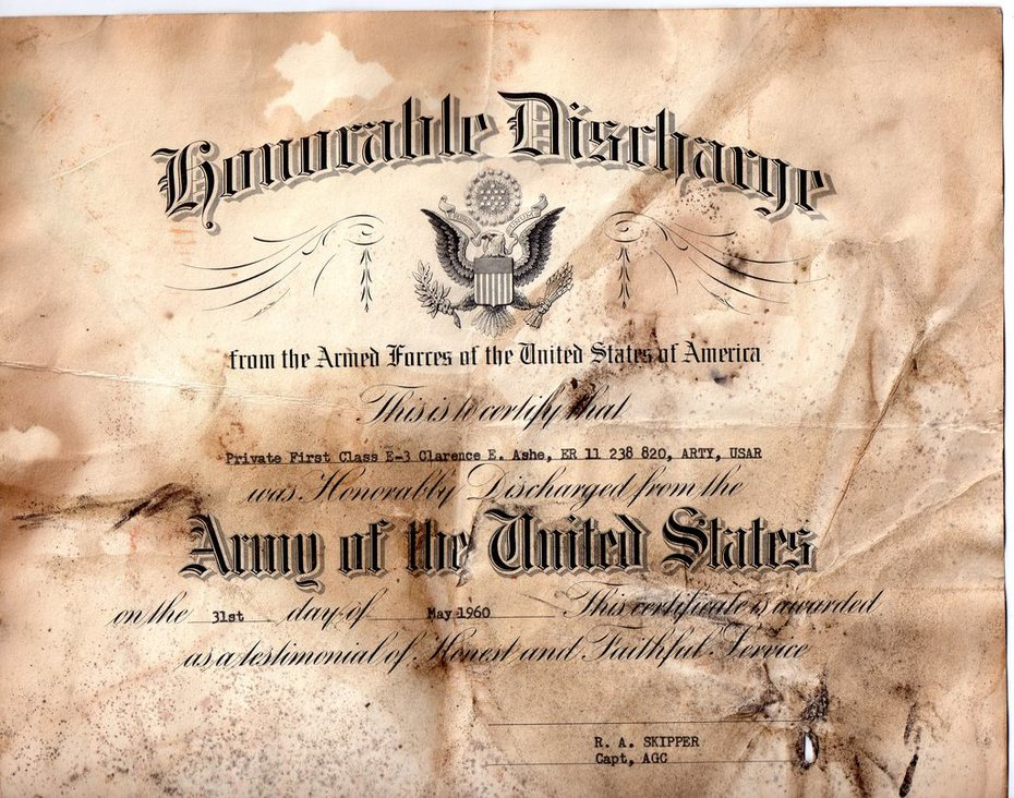 Clarence Ashe Honerable Discharge