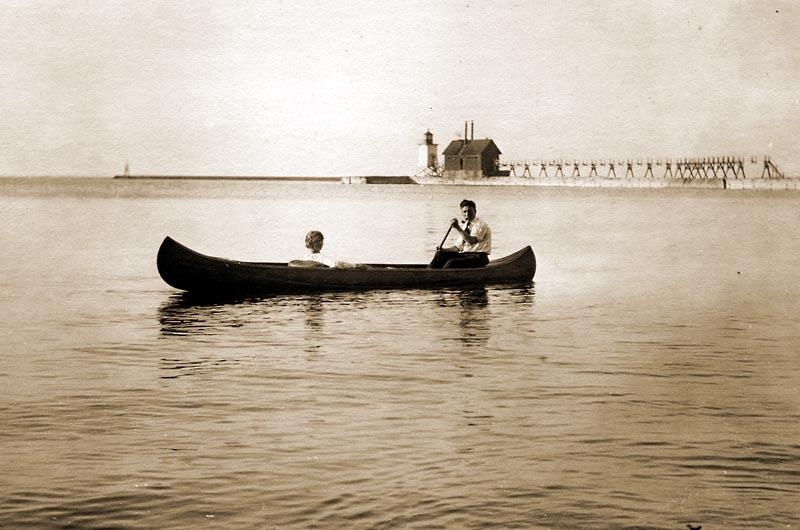 Ludington Michigan, South Breakwater light and fog signal 1920