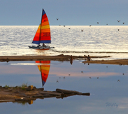 Michigan's Ludington State Park sailboat and reflection at BIg Sable River outlet.