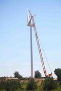 Wind turbines, Mason County Michigan. Installing blade