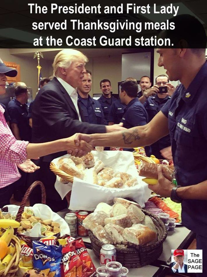 2017 Thanksgiving President Trump with Coast Guard